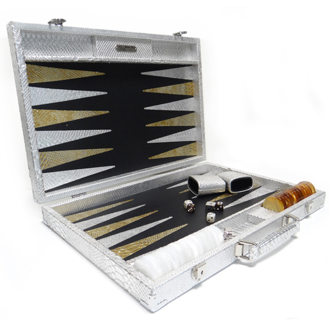 Luxury Games Backgammon silver snake